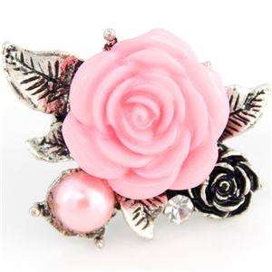 Beautiful Silver tone Blossom Pink Rose Ring,Adjustable