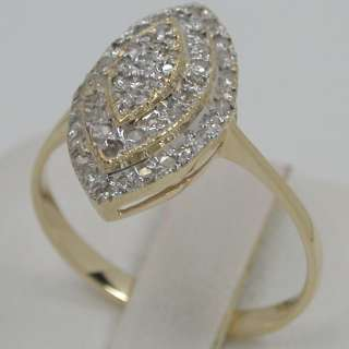 62 CARATS 14K SOLID YELLOW GOLD NATURAL WHITE DIAMOND CLUSTER RING