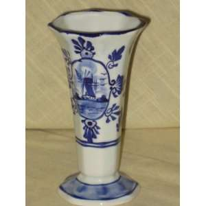 Hand Painted Porcelain Delft Blue Holland  Windmill & Flowers  5