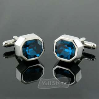 High Quality Blue Romantic Large Crystal Formal Style Men`s Cufflinks