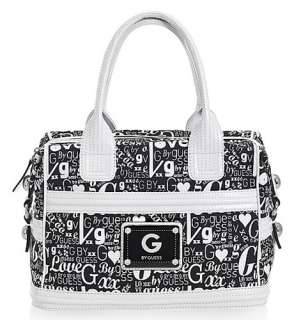 by GUESS DYNASTY Box Satchel Bag Purse Large Black and White BNWT