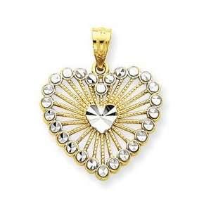 14k Yellow & Rhodium Gold Diamond cut Fancy Etched Design