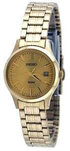 Seiko SXDC40 Womens Gold Tone Gold Dial Casual Dress Watch