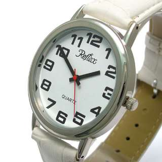 Reflex Jumbo Large easy to read Watch white strap Ultra Clear Dial sil