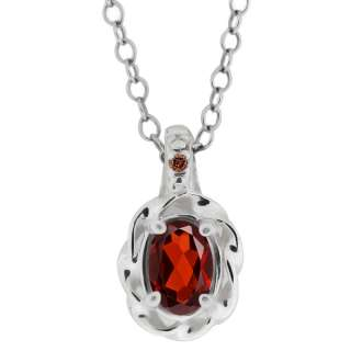 Red Oval Garnet and Cognac Red Diamond Argentium Silver Pendant