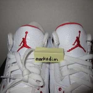 100% Auth New Nike Air Jordan 3 III Retro White Cement Fire Red 10.5
