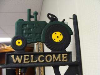 Cast Iron Green Tractor Welcome Sign Dinner Bell New