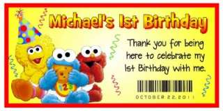 20 BABY SESAME STREET BIRTHDAY FAVORS WATER BOTTLE LABELS ~ Glossy