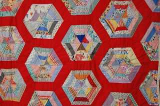 Spider Web Honeycomb Hand Stitched Antique Quilt ~NICE RED