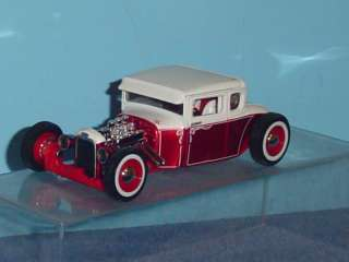 1929 FORD MODEL A COUPE RAT ROD 124 RED & WHITE |