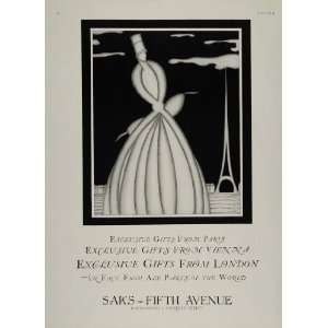 SAKS Fifth Avenue Darcy ART DECO   Original Print Ad: Home & Kitchen