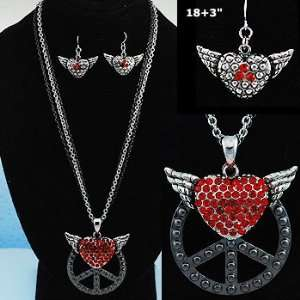 Necklace/Earrings ~ RHINESTONE ACCENTED PEACE / HEART / WING PENDANT