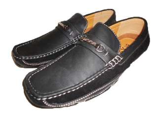 NEW MEN BLACK DRIVING MOCCASINS SHOES PU LEATHER SUEDE BUCKLE FREE