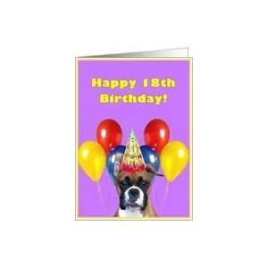 Happy 18th Birthday boxer puppy Card: Toys & Games