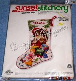 Sunset CHRISTMAS PUPPY Crewel Stitchery Stocking Kit