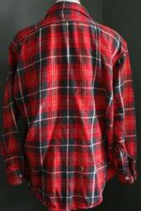 60s Big Mac Plaid Flannel Shirt Men L lumberjack GRUNGE punk red Black
