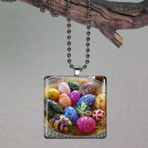 Easter Eggs Basket Art Glass Tile Necklace Pendant 825