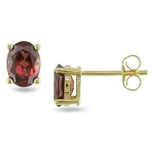 14k Yellow Gold Ear Pin Earrings 1 4/5ct Garnet TGW 14KY