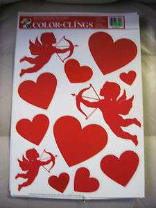 LOVE Valentine CARD  Cupid Heart CHeRuB KiSS  WinDoW Cling SticKer