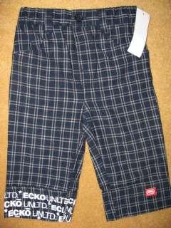 ECKO UNLTD Gray Blue LS T  Shirt Plaid Pants LOGO Outfit NWT Infant
