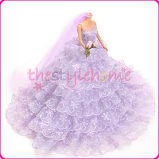 Wedding Dress Gown & Veil for Barbie Doll Princesse Party Clothes