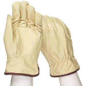 West Chester 9940KWT Leather Glove, Shirred Elastic Wrist Cuff, 9.5