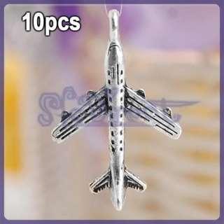 LOT 10 Tibetan Antique Silver Plane Charm Pendant Bead