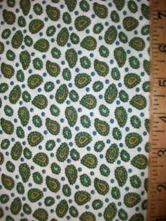 Vintage 38 Small PAISLEY Print Cotton Fabric (1 yd) GREEN