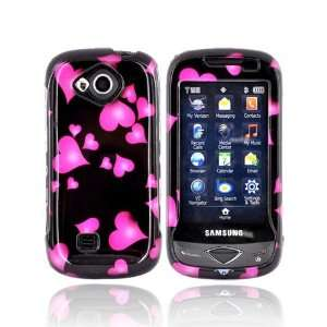 For Samsung Reality Hard Case Cover PINK HEART BLACK Cell