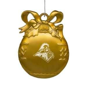 Purdue University   Pewter Christmas Tree Ornament   Gold Sports