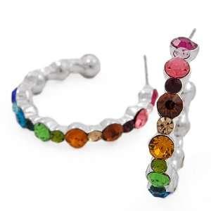 Silvertone Multi Colored Rhinestone Hoop Earrings Fashion