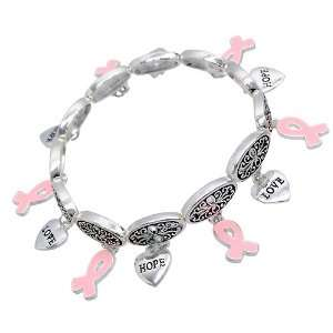 Pink Ribbon Breast Cancer Awareness Jewelry Multi Charms Heart Stretch