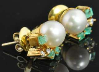 14K Gold Akoya Pearl Natural Emerald Diamond Stud Post Earrings