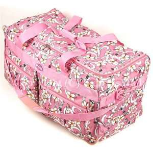 Pink with White Flowers Rolling Wheeled Duffle Bag