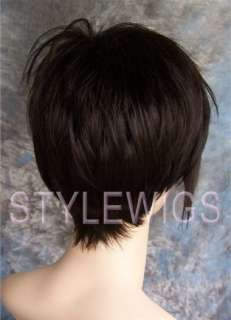 Emo Short Style with Long Bangs Dark Brown Wig NIAD 4