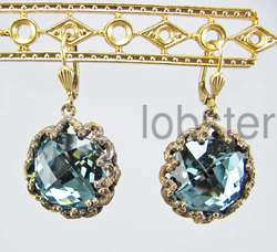 CATHERINE POPESCO ANTIQUED GOLD DANGLE EARRINGS w INDIAN BLUE