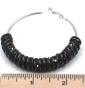 Poparazzi inspired black color crystal in silver tone hoop earrings