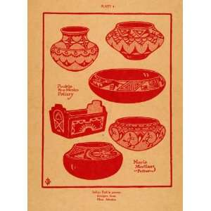1926 Lithograph Indian Pueblo Pottery Designs New Mexico