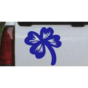 Four Leaf Clover Car Window Wall Laptop Decal Sticker    Blue 6in X 6