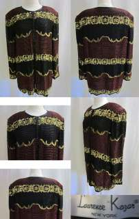 LAURENCE KAZAR GOLD RED BLACK SEQUINS BEADS EVE PARTY CARDIGAN TOP