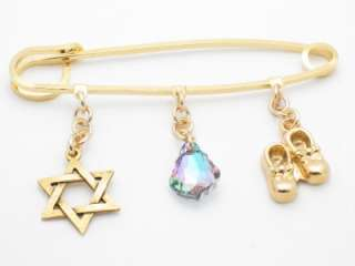 EVIL EYE KABBALAH HAMSA BABY STROLLER PIN GOLD PLATED BABY JEWELRY