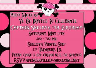 Pink Skulls Pirate Princess Girl Birthday Invitation