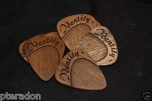 Laser Engraved Wooden Expression Guitar Picks, Tapered Thumb Grip, 6