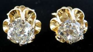 ANTIQUE 14K YELLOW GOLD 1.19CT OLD MINE DIAMOND STUD EARRINGS~FINE NEW
