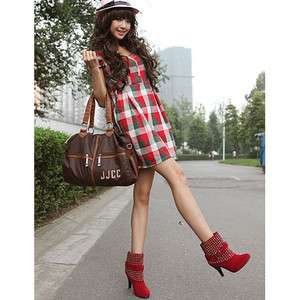 New Fashion Red SexySuede Ankle High Heel Boots US Size5 9 D025