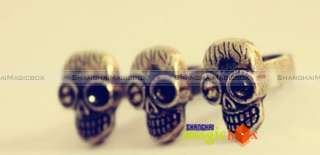 Women Fashion Vintage Punk Skull Skeleton Head Double Ring Brass Color