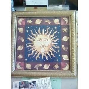 Celestial Sun picture Zodiac themed Framed wall decor Signed art Glass