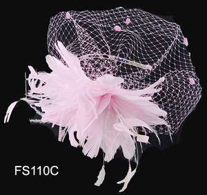 Feather 2 Flowers Headbands Hair Fascinator 4 Colors Available