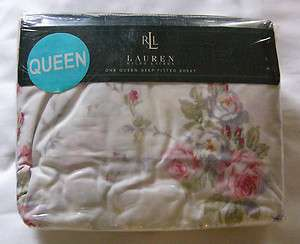 NEW rAlPH lAuReN FAYE FLORAL ROSE PINK QUEEN FITTED SHEET