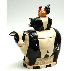 Ceramic Cookie Jar Cow, Pig, Rooster